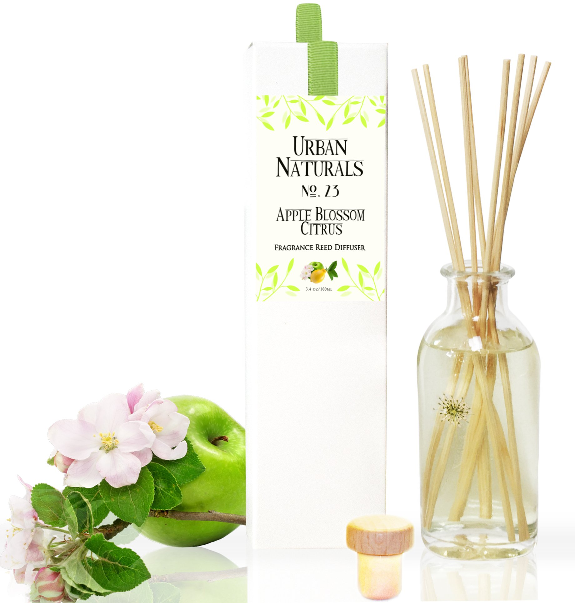 Urban Naturals Lightning Deal Apple Blossom & Citrus Home Reed Diffuser Gift Set | Scented Reed Sticks for Kitchen, Bathroom or Office | Green Apples, Italian Lemon, Juicy Pear, Water Lily