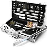 BBQ Grill Utensil Tools Set - GRILLART Reinforced BBQ Tongs 19-Piece Stainless-Steel Barbecue Grilling Accessories with Aluminum Storage Case -Complete Outdoor Grill Kit for Dad, Birthday Gift for Man