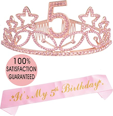 Fifth Birthday Gift 5 Year Old Birthday Crown Youth Kids T-Shirt Five Year Old