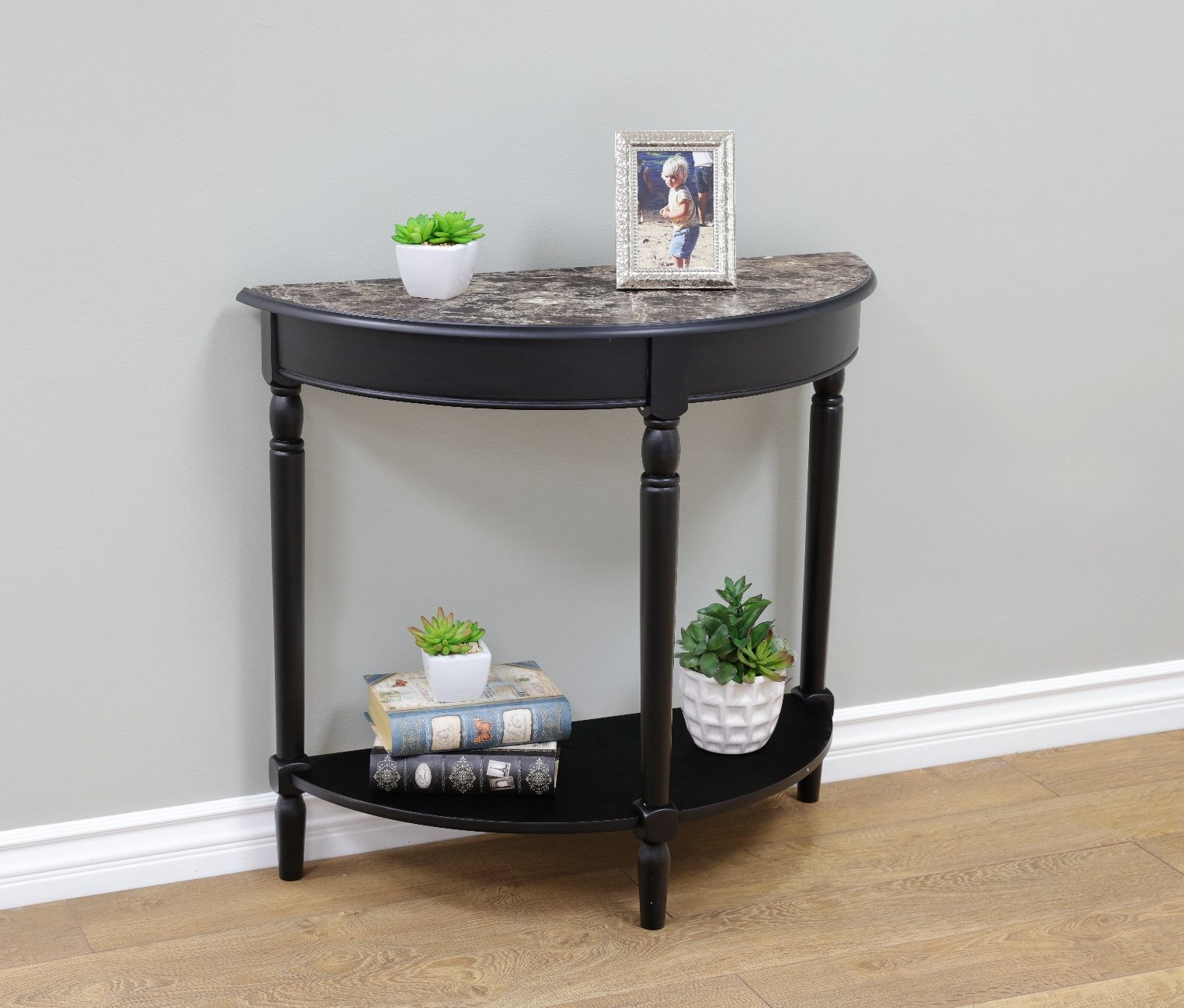 Frenchi Home Furnishing Entryway Table with Faux Marble Top, Black