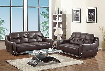 Amazon.com: Blackjack muebles 2088-brown-2pc Juego de sofá ...