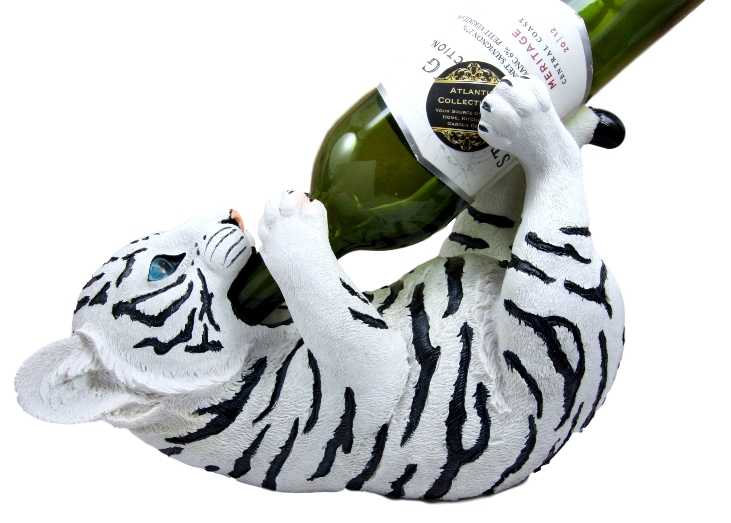 Atlantic Collectibles Thirsty Siberian White Tiger Wine Oil Bottle Holder Figurine 11''Long