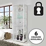 Lockable Double Glass Display Cabinet White with Mirror Back, 4 Moveable Glass Shelves, Spotlight & Lock