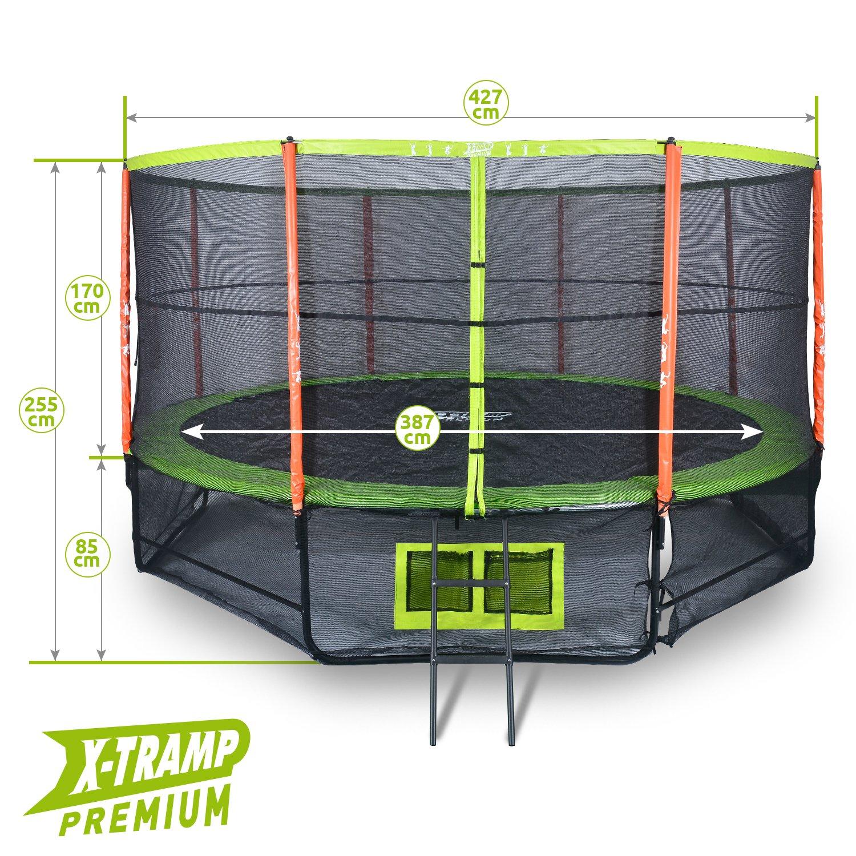 X-TRAMP Outdoor Trampolin Premium 427 14 ft CE & GS Standards 5 Jahre Garantie