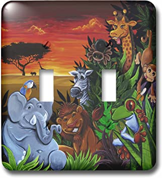 3drose Lsp 53076 2 Jungle Scene With An Elephant Parrot Tree Frog Zebra And Giraffe Toggle Switch Switch Plates Amazon Com