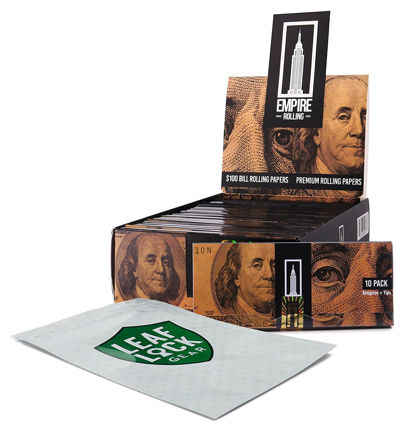 Empire King Size $100 Bill Rolling Papers and Tips (24 Packs/Box) with Leaf Lock Gear Smell Proof Pouch