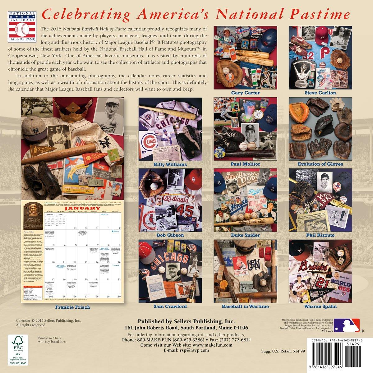 Baseball Hall of Fame 2016 Wall Calendar (Coppertowns Collection): National  Baseball Hall of Fame: 0764453097245: Amazon.com: Books