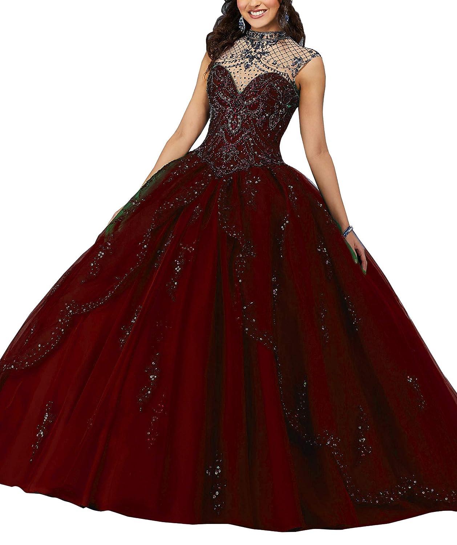 Burgundy Wanshaqin Women's Beaded Halter Sweetheart Ball Gowns Wedding Dresses Organza Ruffles Quinceanera Dresses for Sweet 16