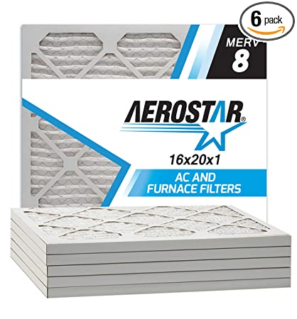 Aerostar 16x20x1 MERV 8 Pleated Air Filter, Made in the USA, 6-Pack