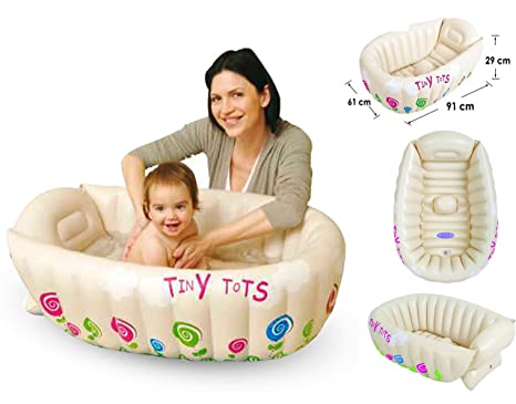Bañera portátil Tiny Tots, inflable, para bebé, con sensor, sin ftalato.