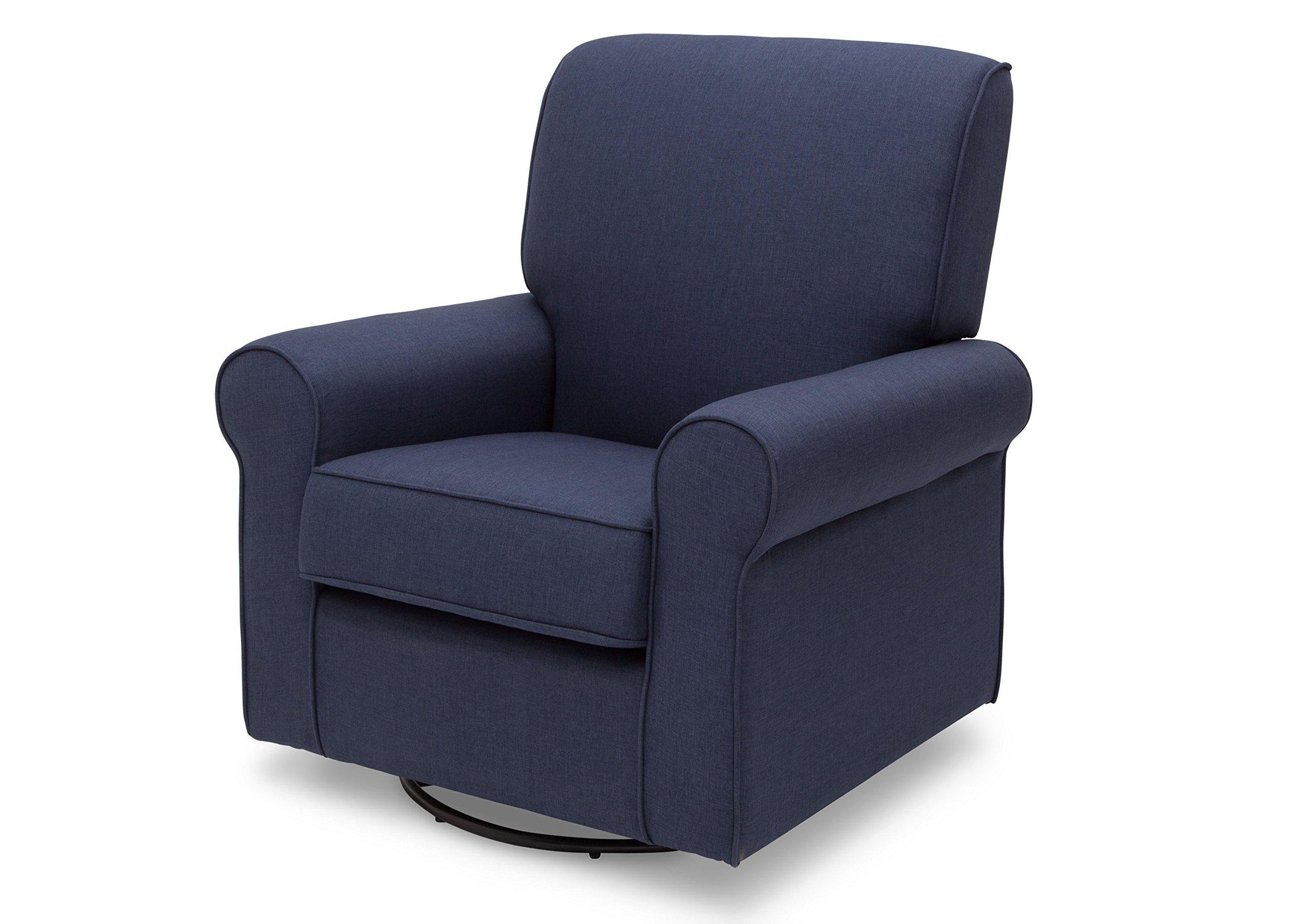 Delta Furniture Avery Upholstered Glider Swivel Rocker Chair, Sailor Blue