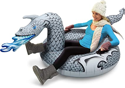 GoFloats Winter Snow Tube - Inflatable Toboggan Sled for Kids and Adults (Choose from Unicorn, Ice Dragon, Polar Bear, Penguin, Flamingo) best sleds