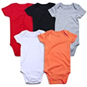 ROMPERINBOX Unisex Solid Multicolor Baby Bodysuits 0-24 Months (Black White Grey Red Orange Short Sleeve 5 Pack, 12-18 Months)