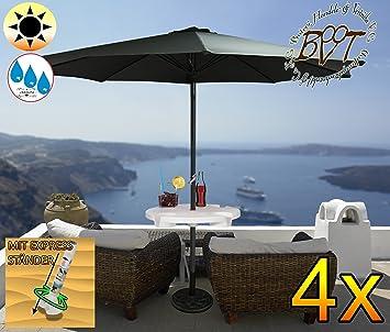 4 pieza XXL sombrilla Incluye pantalla mesa grande, 300 cm/3 M Acero sin