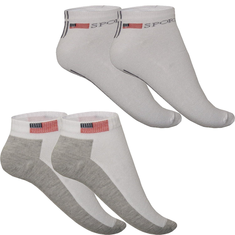 12 Paar 24 Paar Herren Männer Sneaker Socken Füßlinge Socks USA mit Logo weiß weiss 12er Pack 24er Pack Sport Freizeit 80% Baumwolle Knöchel Sneakersocken
