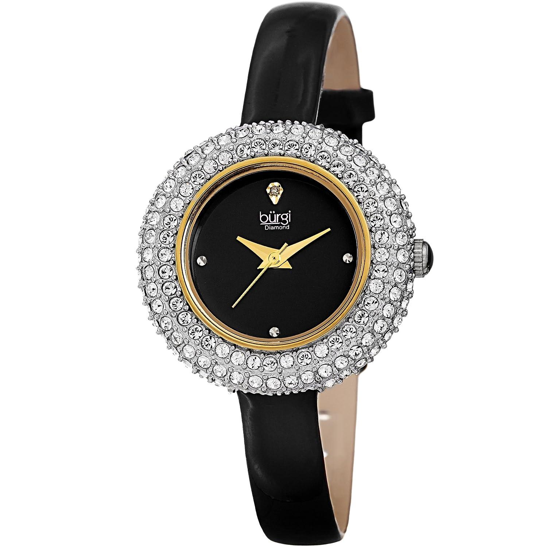 Amazon.com  Burgi Women s BUR195 Swarovski Crystal   Diamond Accented Watch  - Comfortable Leather Strap in A Gift Box (Yellow Gold   Black)  Burgi   Watches 7547fd4bd7