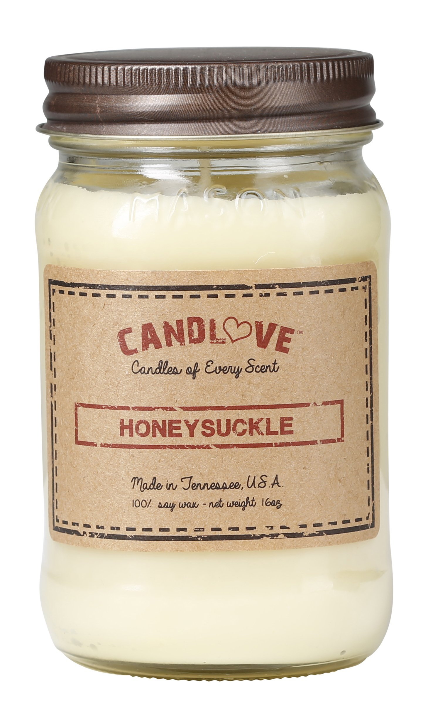 CANDLOVE Honeysuckle Scented 16oz Mason Jar Candle 100% Soy Made in The USA - Bring your senses alive with the intoxicating and sweet smell of honeysuckle. ECO-FRIENDLY, SOY PRODUCT. Completely renewable, these candles are made using 100% soy wax - a vegetable wax made from the oil of soybeans. In addition to sustainability, these eco-friendly soy candles will burn cleanly and slowly. Made in USA. HUGE VARIETY OF SCENTS. To accommodate everyone's needs, Candlelove Candles are made in almost every scent imaginable. With so many options to choose from - floral, food, aromatic, novelty, fruity and funny scents - you're sure to find just the right one. - living-room-decor, living-room, candles - 81Vlfw3AjXL -