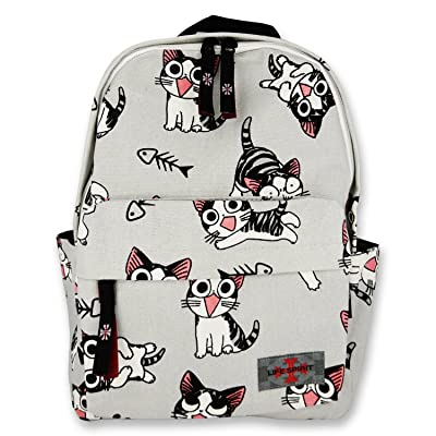 Backpack for Kids Made with Canvas Material in Cute Cats Prints