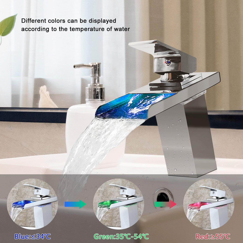 16*13.5*5 cm Miscelatore per lavabo e Rubinetto Cascata Rubinetto 120 /° girevole rubinetto calda e fredda Mix Rubinetto con filtro rete per bagno dimensioni