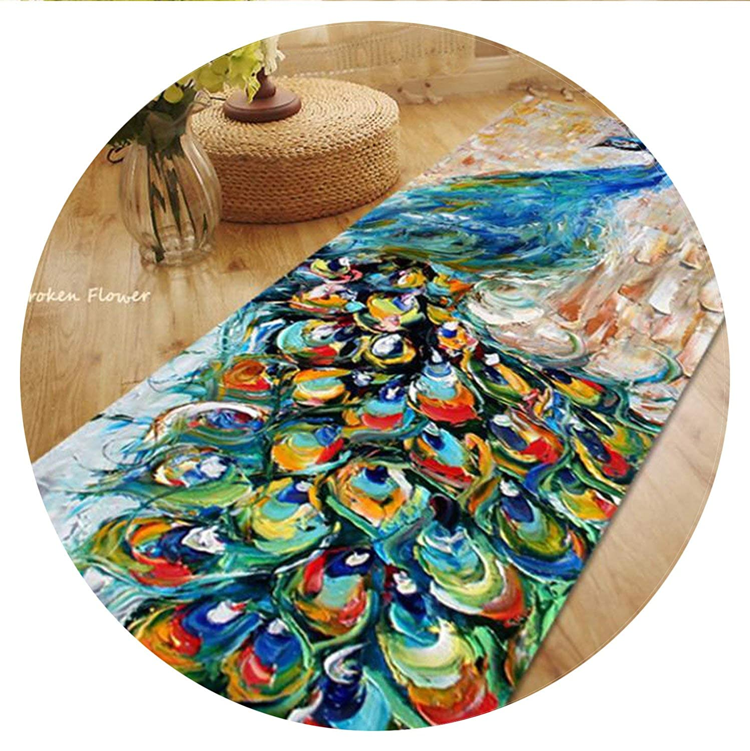 60X180CM Long Carpets for Bedroom Living Room Rugs and Carpets Soft Polyester Beautiful Peacock Kitchen Mat/Bath Mat,Multi,50cmx150cm