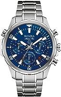 Bulova Men's Designer Chronograph Watch Stainless Steel Bracelet - Water Resistant Blue Dial Marine Star 96B256