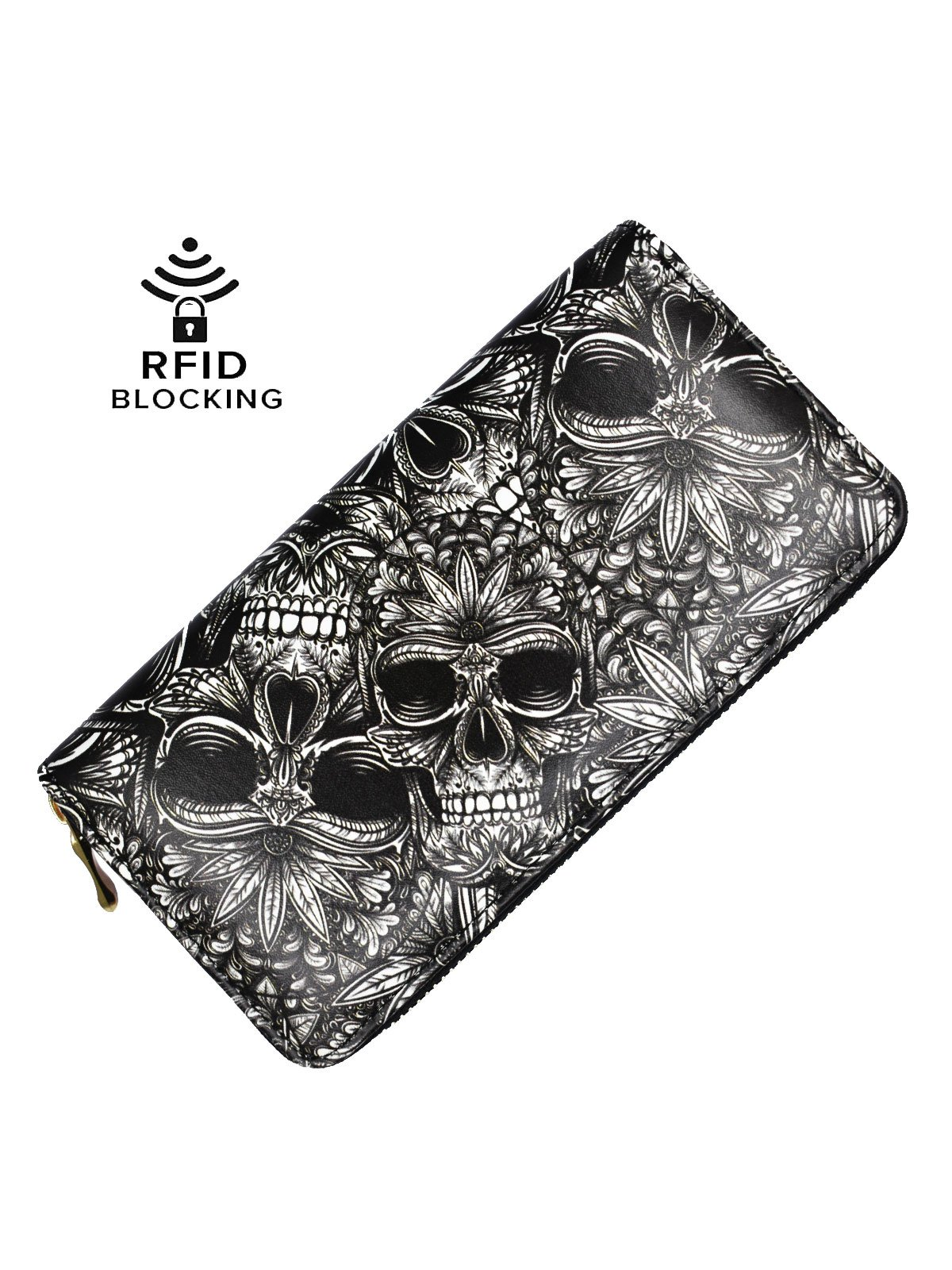 Black Wallet Skull Unisex Long Clutch Slim Credit Card Holder Case Book Leather RFID Blocking Purse Billfold Wallet for Women and Men