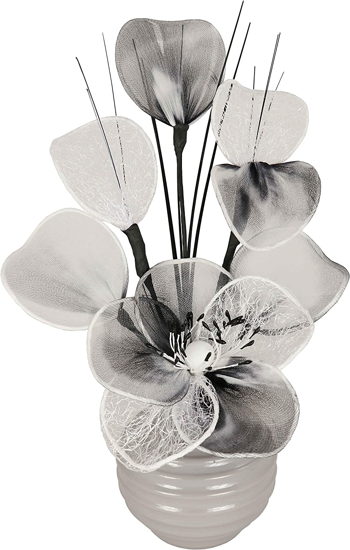 Bianco Vaso con fiori finti wei/ß Flourish QH1 30 cm altezza ca