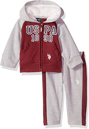U.S. POLO ASSN. Baby Boys' 2 Piece Fleece Jog Set