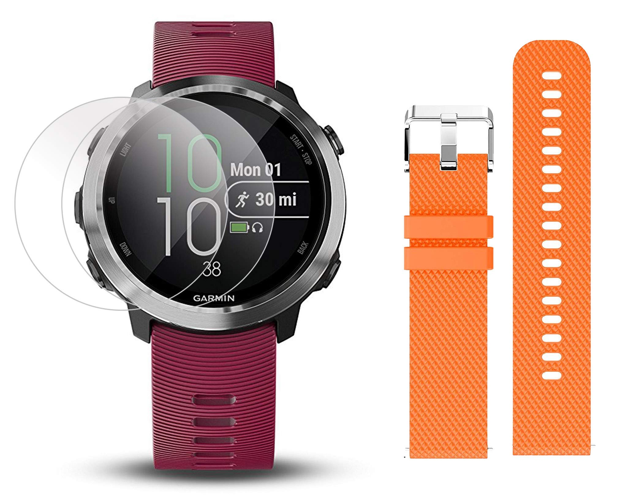 Garmin Forerunner 645 Music Bundle with Extra Band & HD Screen Protector Film (x4) | Running GPS Watch, Wrist HR, Music & Spotify, Garmin Pay (Cerise + Music, Orange) by PlayBetter (Image #1)