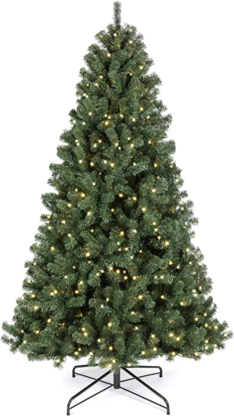Amazon Com Best Choice Products 7 5ft Pre Lit Instant Setup No Fluff Hinged Artificial Spruce Christmas Tree W 550 Led Lights 1 346 Memory Steel Tips Metal Stand Home Kitchen