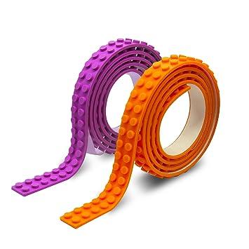 Bloque cinta para LEGO Ladrillos, 10 rollos no tóxico seguro Cuttable buliding Bloquear cinta adhesiva reutilizable para niños juguete regalo (3ft/rollo): ...