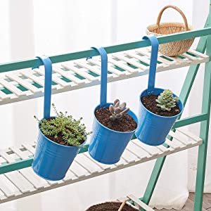 3Pcs Large Wall Galvanized Metal Iron Hanging Planter Buckets with Hook, Flower Pots Baskets/Holder,Farmhouse Wall Decor,Suitable for Railing,Fence,Window,Patio,Clay Garden, Indoor/Outdoor(Blue)