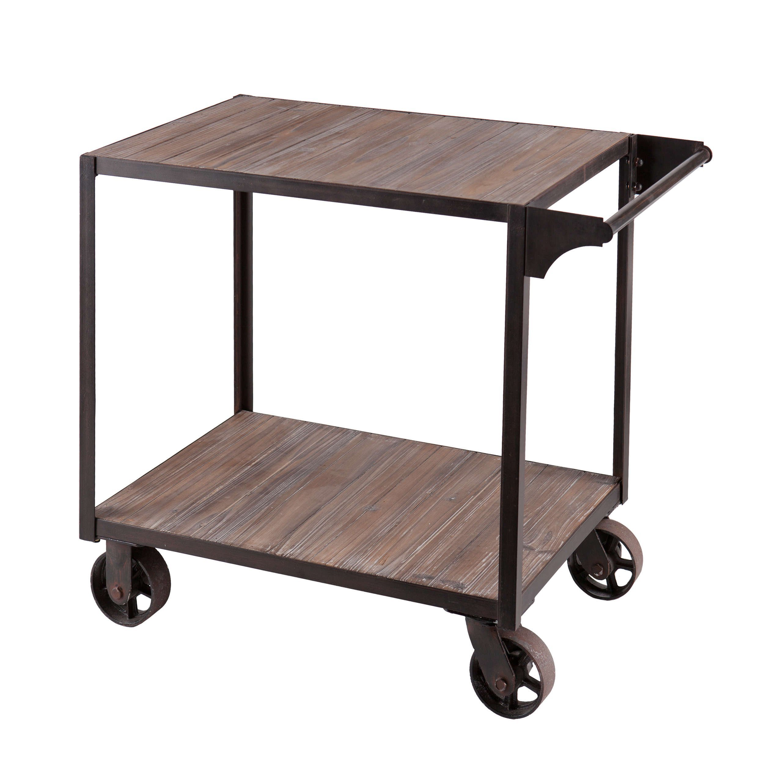 Industrial Style Kitchen Bar Serving Rolling Wine Cart Wooden Top with Bottom Shelf | Metal Frame, Black Finish - Includes Modhaus Living Pen