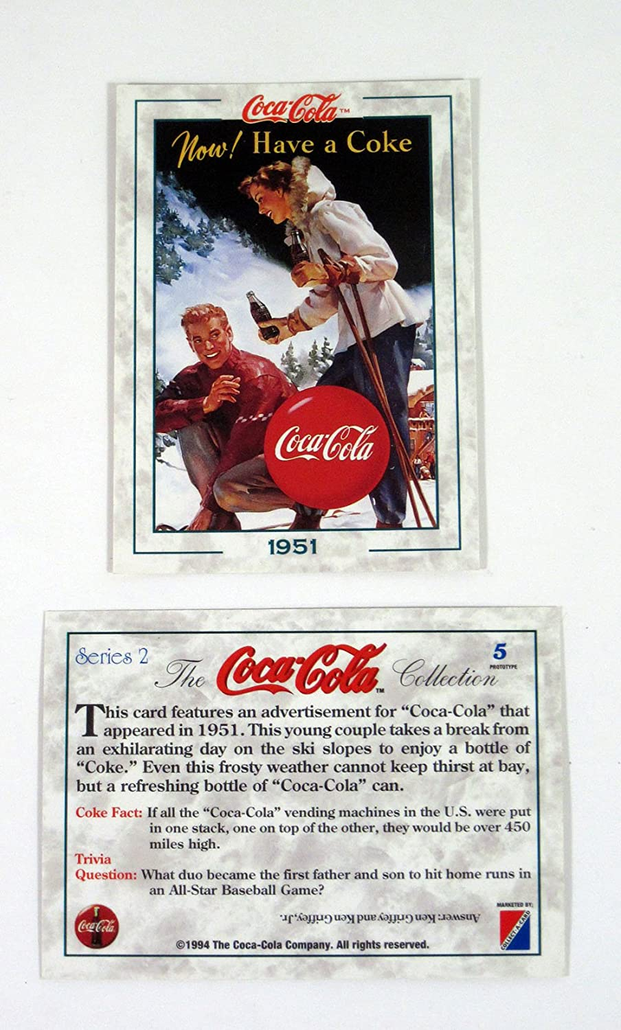 1993 Collect-A-Card The Coca-Cola Collection Series 1 Promo Card Set 3 Nm//Mt