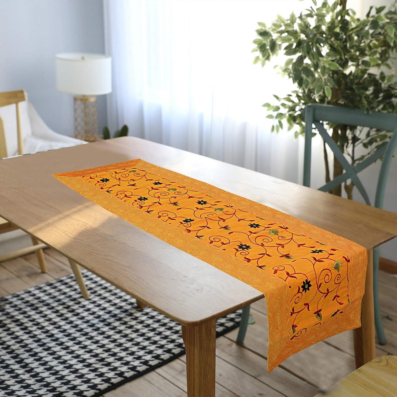 rajwada-fashion Indian Ethnic Designer Handmade Embroider Silk Table Runners 60 X 17 Inches Golden Yellow