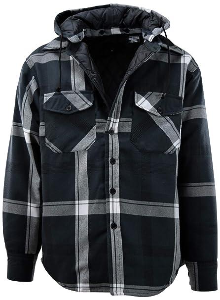 Amazon.com: Chaqueta de franela para hombre con capucha ...