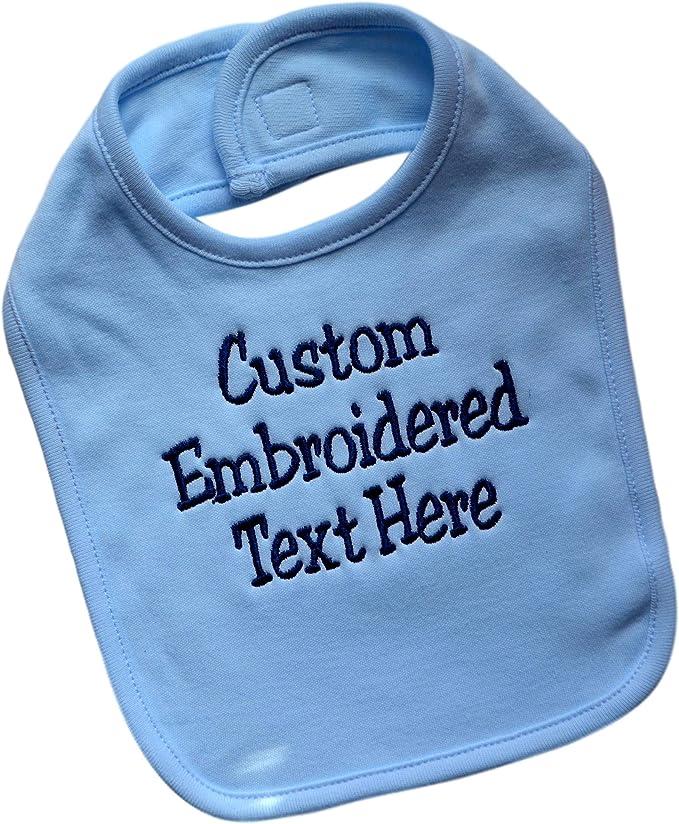 Monogrammed Linen Baby Bib Cotton Dots Pink Blue Monogram Shower Gift