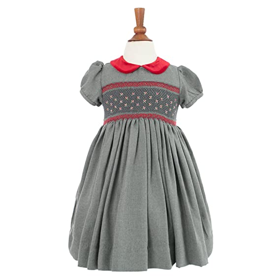 b37931d17 Amazon.com: Girl's Hand Smocked Holiday Party Dress - Dark Gray with Red  Flowers: Clothing