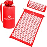 Set per agopressione »Jimuta« / Borsa + tappetino + cuscino / Tappetino per agopressione e massaggi per allentare e sciogliere efficacemente le tensioni / rosso