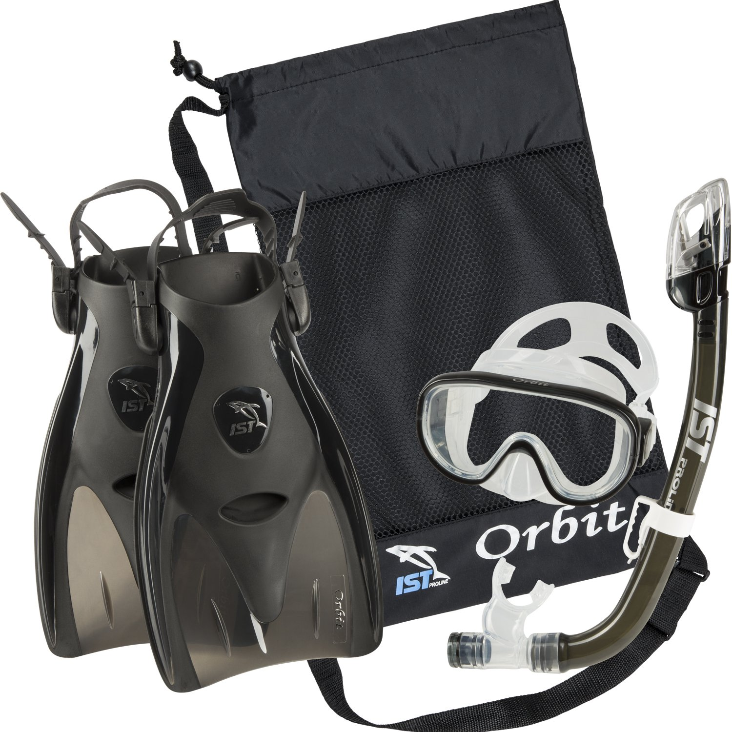 IST Orbit Snorkel Set (Black, Medium (5-8))