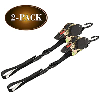 """(2 Pack) Retractable Ratchet Straps with Vinyl Coated S Hooks, 1"""" x 10' with Soft Loop Tie for Motorcycles, ATV's, Bikes"""