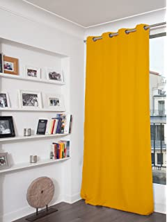 Homescapes Mustard Yellow Eyelet Ring Top Blackout Thermal Curtain ...