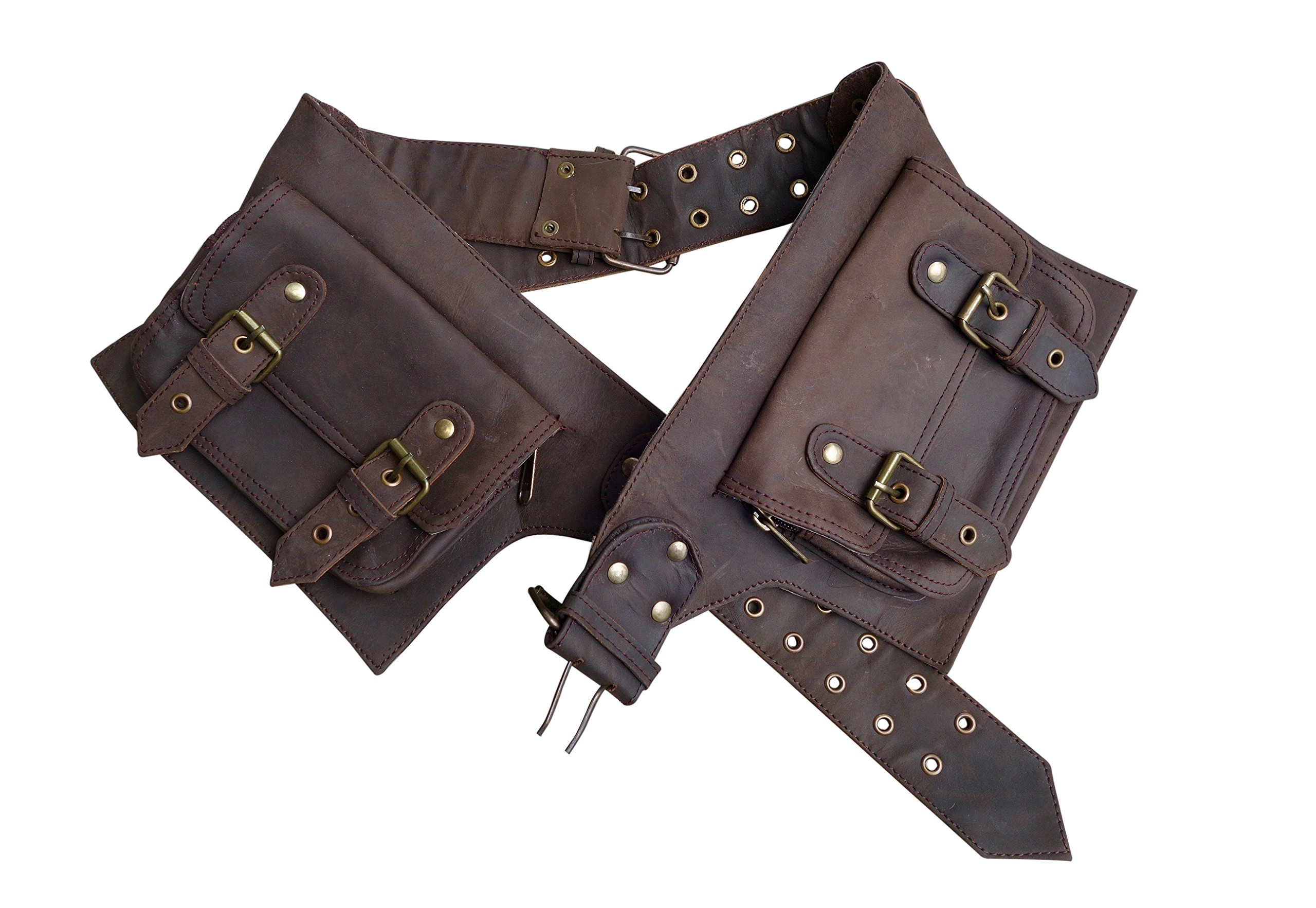 Leather Utility Belt | Adjustable, 4 Pocket | Saddle | Leather Utility Belt | Adjustable Saddle, 4 Pocket | festival, cosplay, fits phone (Brown)