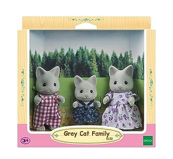 Amazon.es: SYLVANIAN FAMILIES Grey Cat Family Mini muñecas y Accesorios Epoch 5130: Juguetes y juegos