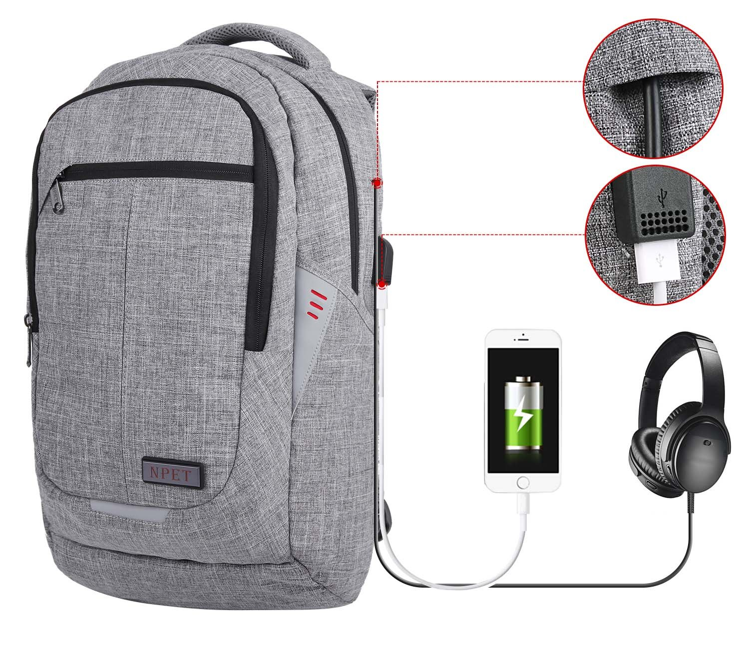 669bf0d56e Business Laptop Backpack, NPET Anti-Theft Waterproof Travel Backpack with  USB Charging Port High