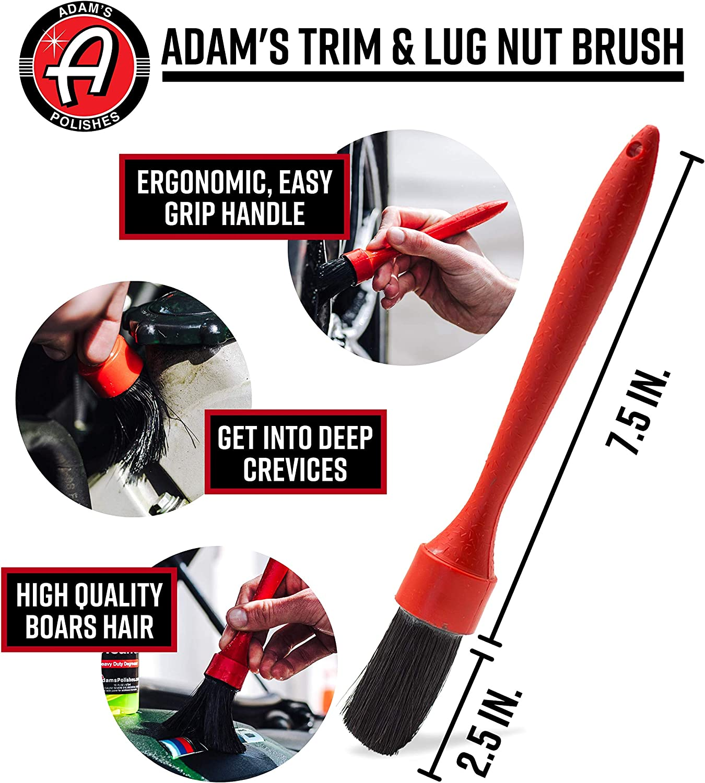 Auto Detailing Tool for Trim Premium Chemical Resistant Fine Grade Bristles for Optimal Car Boat RV /& Motorcycle Washing Adams Trim /& Lug Nut Brush Engine Bay /& Wheel Cleaning