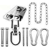 Hammock Hanging Kit with Swing Chain, 1000lbs Capacity Hanging Hooks Heavy Duty 360° Swivel for Yoga, Chair, Tree, Indoor & O