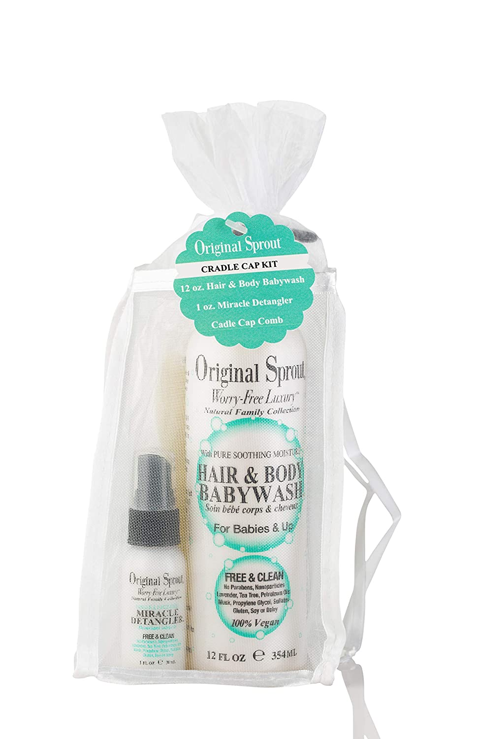 Original Sprout Cradle Cap Kit. Hair and Body Baby Wash, 12 Ounces, Miracle Detangler, 1 Ounce, and Cradle Cap Comb. Dermatologist Tested Products.