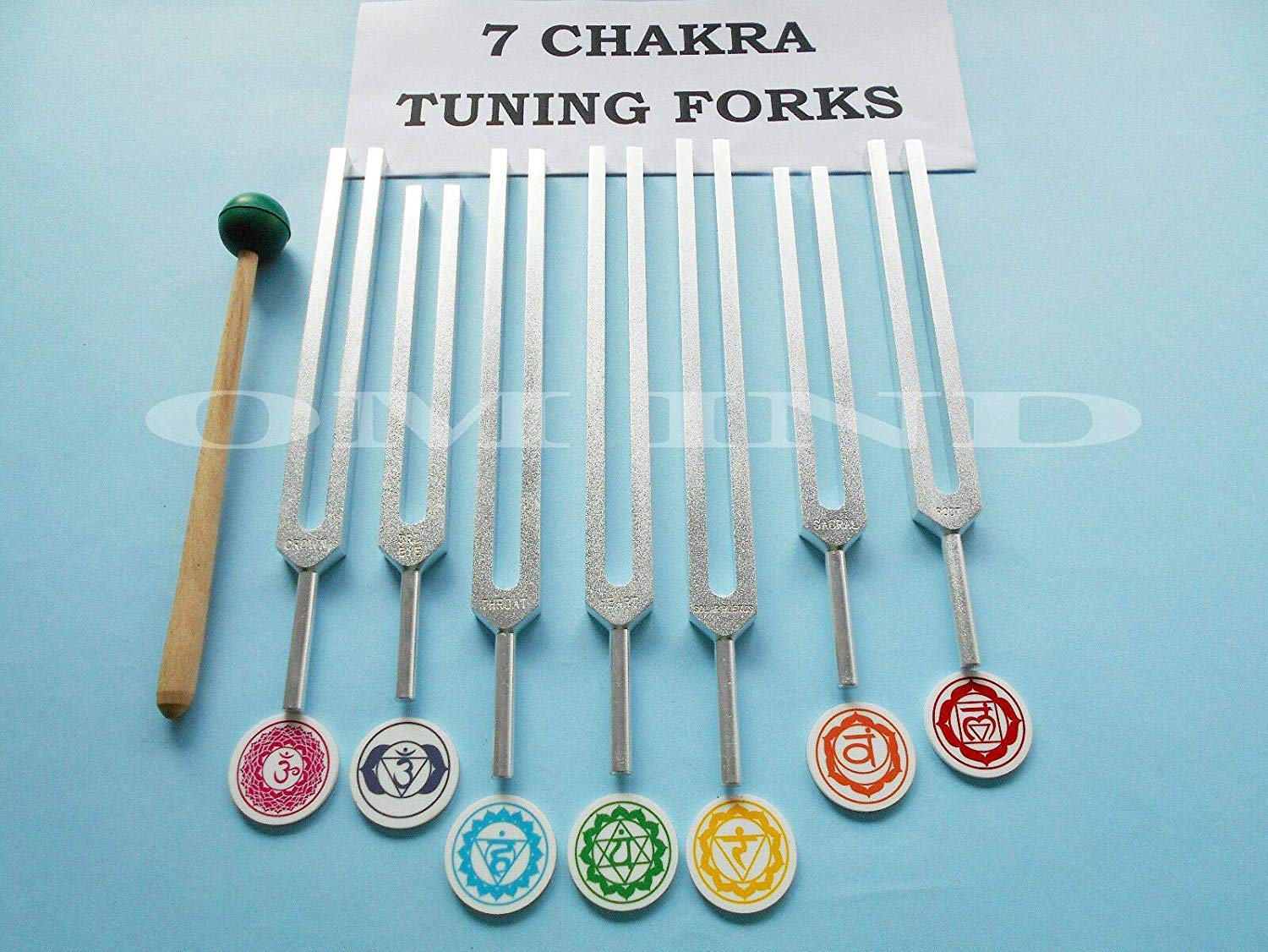 Om Industries 7 Chakra Tuning Fork With Sign