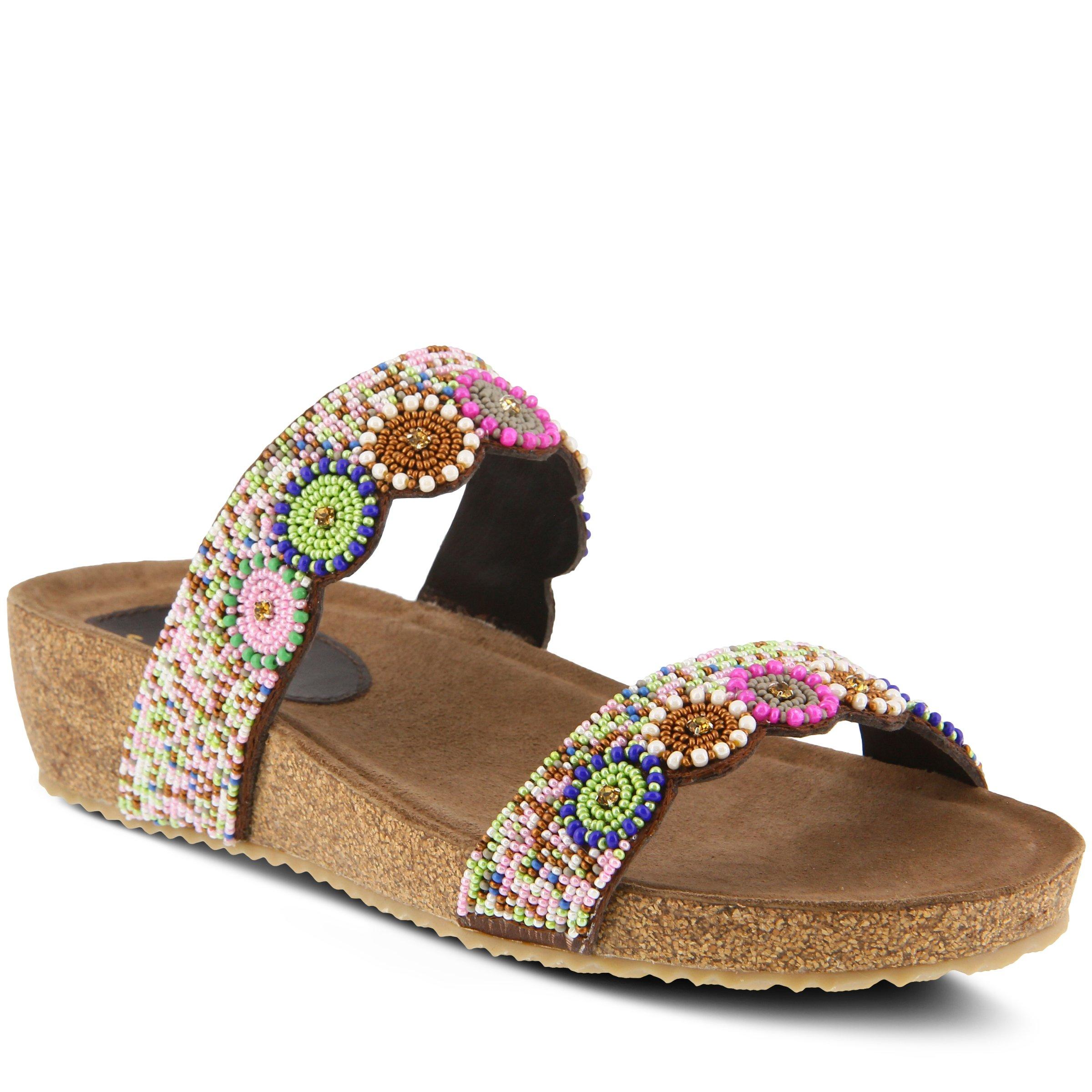 Azura Women's Style Bahama White Mutli EURO Size 36 Leather Slide Sandal by Azura (Image #1)